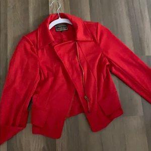 Red knit moto jacket